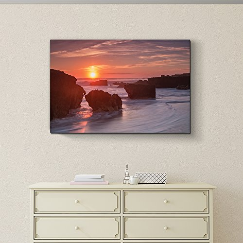 Wall26 Rocks are surrounded by ocean mist - Canvas Art Home Decor - 24x36 inches