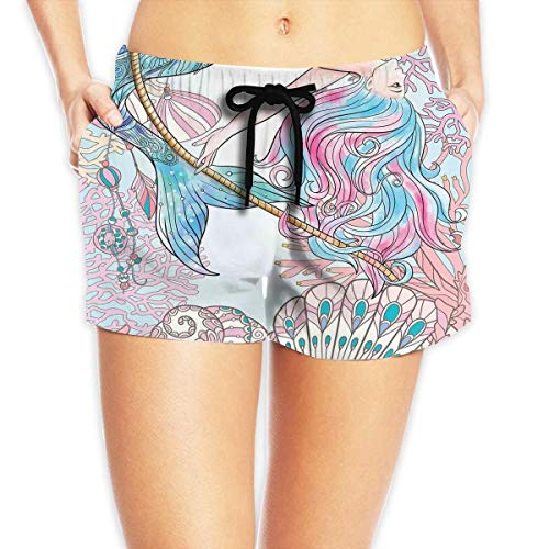 (Mermaid Cartoon Mermaid in Sea Sirens Female Sexy Summer Beach Pants Adjustable Short Beach Trunks White)