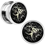 Body Candy Stainless Steel Steampunk Gears Glow in The Dark Screw Fit Plug Pair (5mm to 20mm) 6