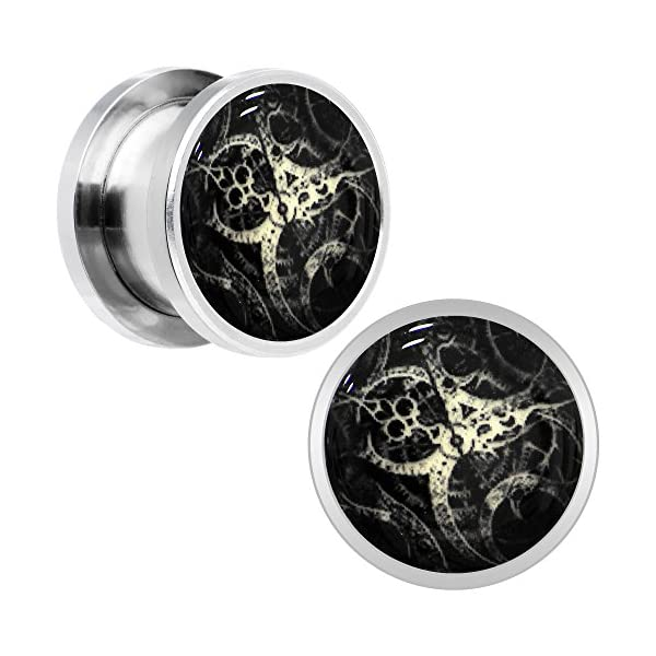 Body Candy Stainless Steel Steampunk Gears Glow in The Dark Screw Fit Plug Pair (5mm to 20mm) 3