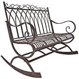 Cheap Titan Outdoor Metal Rocking Bench Chair Porch Patio Garden Deck Decor Rust Color