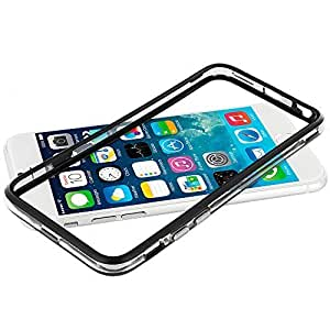 Accessory Planet(TM) Black / Clear TPU Bumper Frame with Metal Buttons Case Cover for Apple iPhone 6 (4.7)