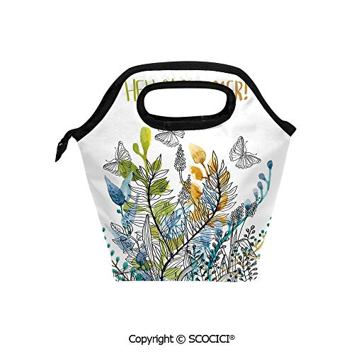 Picnic Food Insulated Cooler Tote Lunch Bag Hello Summer with Watercolor Fern Branch Harvest Season Paint Decorative Organizer Lunchbox for Women Men Kids. ()