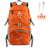Wirarpa Foldable Durable Travel Hiking Backpack 35L Ultra Lightweight Packable Carry On Daypack Unisex for Camping/Outdoor Sports Orange