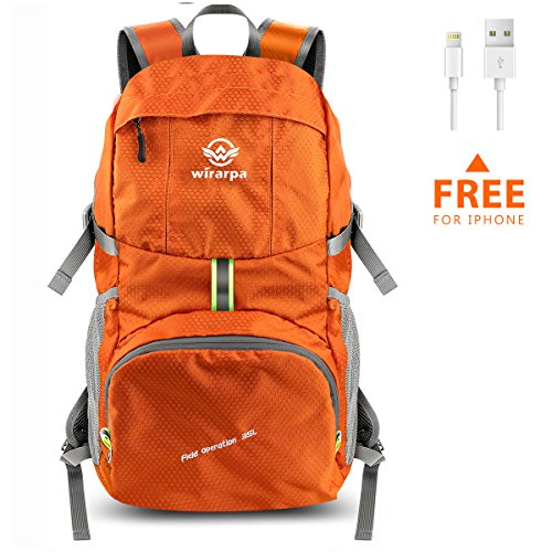 Wirarpa Foldable Durable Travel Hiking Backpack 35L Ultra Lightweight Packable Carry On Daypack Unisex for Camping/Outdoor Sports Orange Clearance Sale