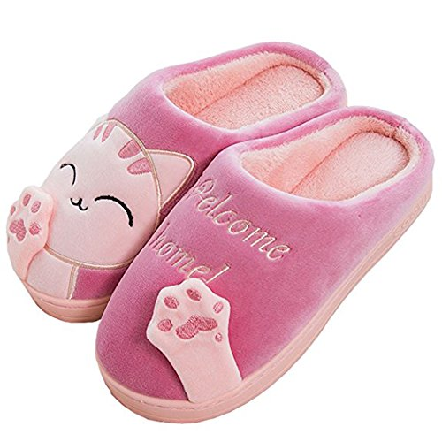 Sitaile Heren Dames Lucky Cat House Slippers Pluche Cute Indoor Winter Home Slippers Rood