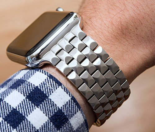 42mm JUUK Locarno Premium Apple Watch band, made with Swiss quality using only the highest grade solid 316L stainless steel with a solid steel butterfly deployant buckle (Brushed) by JUUK (Image #4)