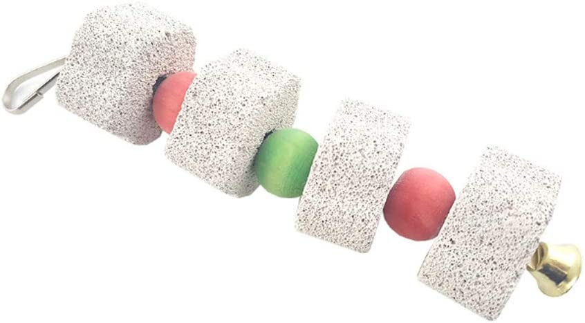 beijieaiguo Loro Chew Toy Dientes prácticos La molienda Colgantes de Piedra con Bell Duradero Lava Calcio Evitar Que Las Aves Suministros Pico de pájaro de Piedra