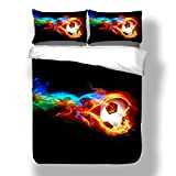 Suncloris, Fire And Ice Soccer,3PC Bedding Sheet Set.Included:1Duvet Cover,2Pillowcase(no Comforter inside)(Full/Queen)