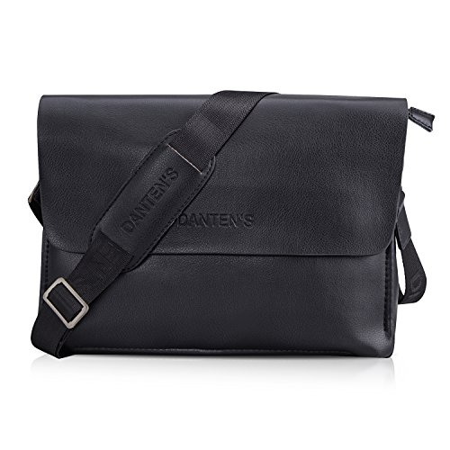 Bienna Men Bags Crossbody Shoulder Bag Black Genuine Leather Business Messenger Bag for Work Travel Office-Horizontal