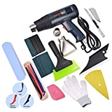 FOSHIO US Plug 110V 1800W Temperature Heat Gun with Large LCD Display with Automotive Window Tinting Kits Micro Squeegee, Utility Knives,Scraper,Gloves