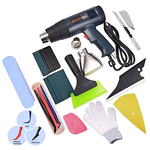 - FOSHIO US Plug 110V 1800W Temperature Heat Gun with Large LCD Display with Automotive Window Tinting Kits Micro Squeegee, Utility Knives,Scraper,Gloves