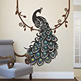 Peacock Wall Decal Peafowl Wall Sticker Animal Wall Decal Bird Wall Decal Vinyl Nursery wall decal Peacock wall Mural home Art Decor F(peacock and feather:Black;annulus of the feather's eyes:Medium Blue;eyes of feather:Light Yellow;vine:Brown)