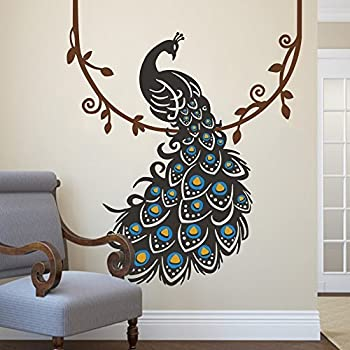 peacock wall decal peafowl wall sticker animal wall decal bird wall decal vinyl. Black Bedroom Furniture Sets. Home Design Ideas