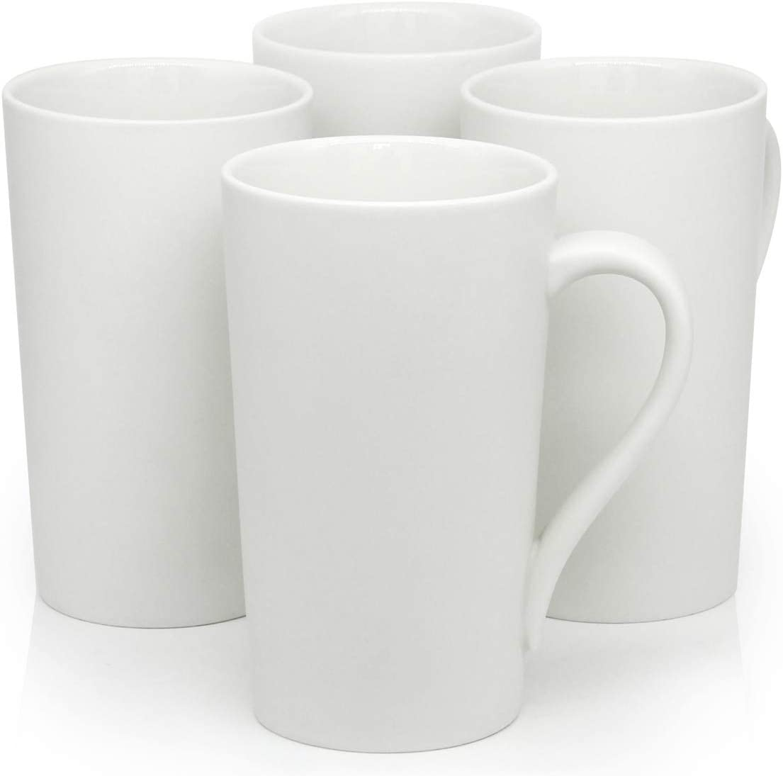 Amazon Com 20 Oz Large Coffee Mugs Smilatte M007 Plain Blank Tall Ceramic Cup With Handle For Dad Men Set Of 4 White Kitchen Dining