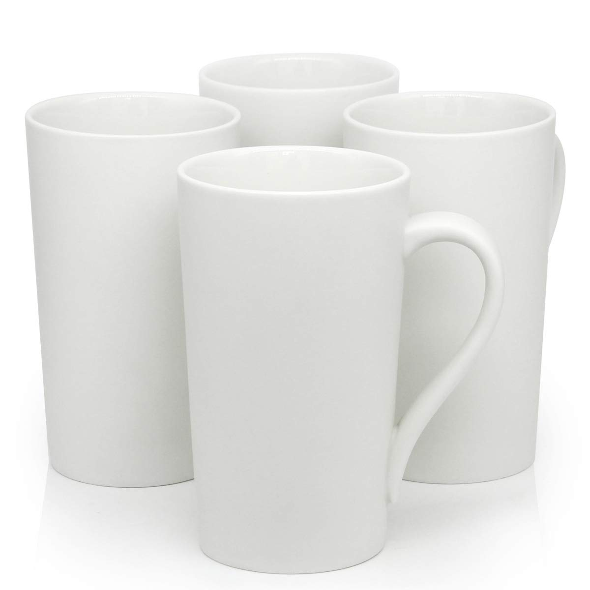 20 OZ Large Ceramic Coffee Mugs, Smilatte M007 Plain Blank Tall Ceramic Cup with Handle for Dad Men, Set of 4, White