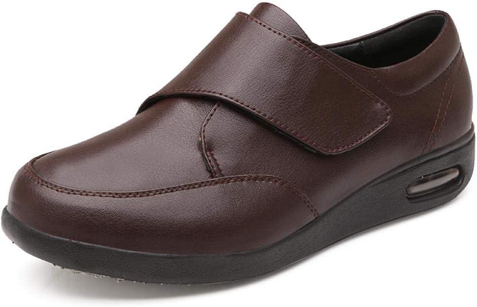 B/H Correas de Velcro Zapatillas Ortopédicos,Zapatos para pie diabético, Zapatos valgus de Pulgar ajustable-50_Brown,Fascitis Edema Calzado para Personas Mayores