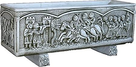 DEGARDEN Jardinera Rectangular Moderna en hormigón-Piedra para Exterior Medieval Piedra Exterior 92X30X30cm.