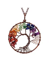 Luvalti Tree of Life - Gemstone Chakra Jewelry Colorful Bronze Chain Necklace