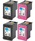 HouseOfToners Remanufactured Ink Cartridge Replacement for HP 60 (2 Black & 2 Color, 4-Pack)