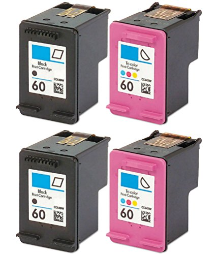 HouseOfToners Remanufactured Ink Cartridge Replacement for HP 60 ( Black,Cyan,Magenta,Yellow , 4-Pack ) (120 Cartridge Toner Black)