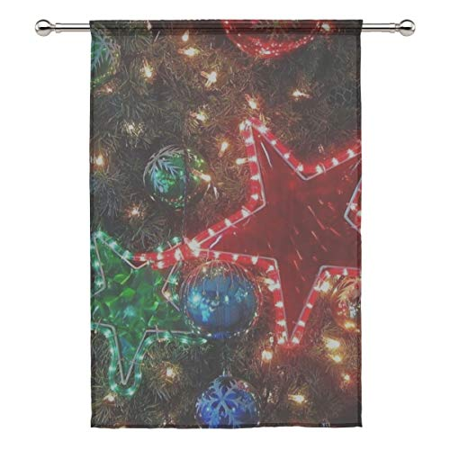 Your Home Sheer Curtain Drape Single Panel Christmas Decorations Balloons Stars Garlands Tree Holiday Door Window Gauze Curtains for Living Room Bedroom Office(55x78inch
