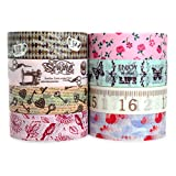 Crafty Rabbit Decorative Masking Washi Tape Roll Vintage Set, Pink / Brown, Pack of 8