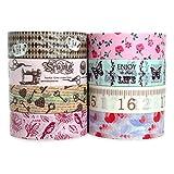 Crafty Rabbit Decorative Masking Washi Tape Roll Vintage Set, Pink / Brown, Pack of 8