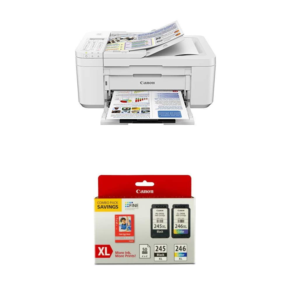 Canon PIXMA TR4520 Wireless All in One Photo Printer, White with Canon PG-245XL/CL-246XL Ink/Photo Paper Pack by Canon