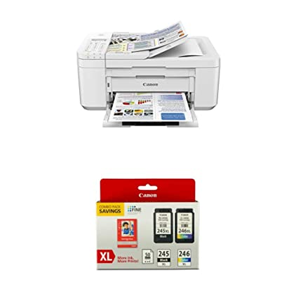 Canon PIXMA TR4520 Wireless All in One Photo Printer, White with Canon  PG-245XL/CL-246XL Ink/Photo Paper Pack