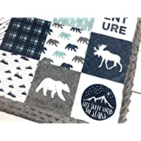 Moose & Bear Minky Baby Blanket, ADVENTURE in Navy & Dusty Blue (3 Sizes, Personalize with embroidery on back)