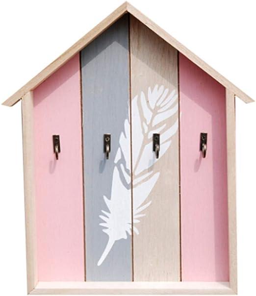 HEMFV Caja de Llaves Madera rústica Montado en la Pared Llave 4 Gancho Decoración for el hogar (Color : Pink): Amazon.es: Hogar