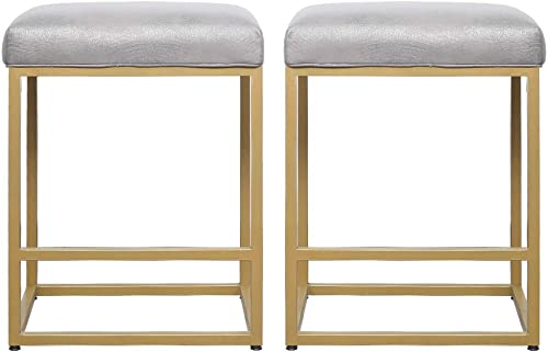 24 High Backless Bar Stools Set of 2 ,Pu Surface Backless Counter Stool Metal Legs,Padded Cushion Saddle Backless Bar Stool,Soft Cushion Seat with Footrest Gold Leg