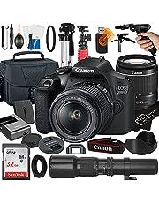 Canon EOS 2000D / Rebel T7 DSLR Camera with EF-S 18-55mm + 500mm Preset Manual Focus Lens + SanDisk 32GB Card + Tripod + Case + MegaAccessory Bundle (23pc Bundle)