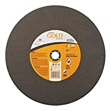 "Carborundum 481-05539507087 Aluminum Oxide Type 11 Cutoff Wheel, 14"", 3/32"", 36 Grit, 1"", 4365 rpm, Carbo Gold"