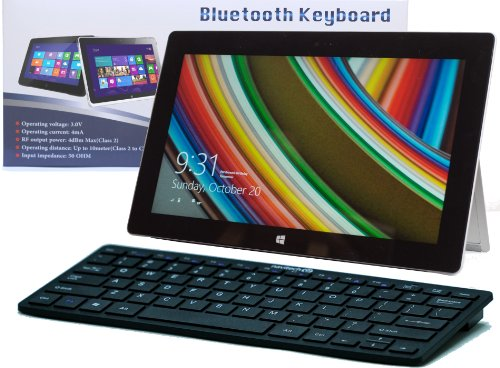 Navitech Black Slim Wireless Windows Bluetooth Keyboard For The Microsft Surface 2 & Surface Pro 2