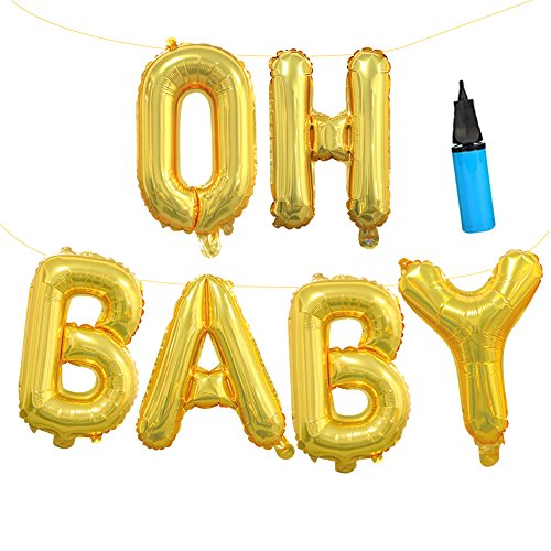 16 INCH Gold OH BABY Balloons for Baby