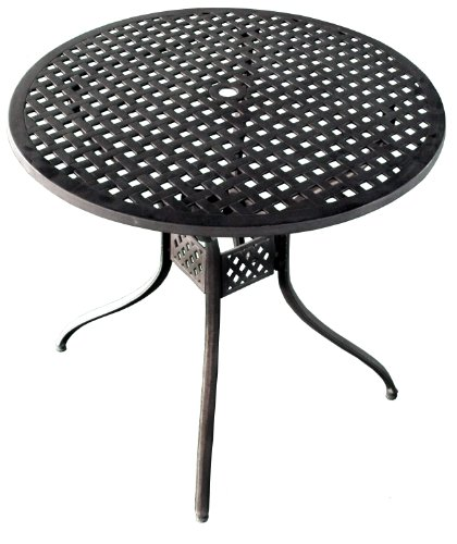 ATC Design Antique Bronze Solid Cast Aluminum Round Bar H Table, 42