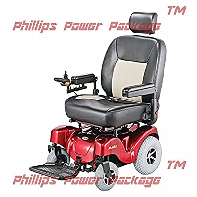 """Merits Health Products - Atlantis - Bariatric Power Chair - 24""""W x 20""""D - Red - PHILLIPS POWER PACKAGE TM - TO $500 VALUE"""