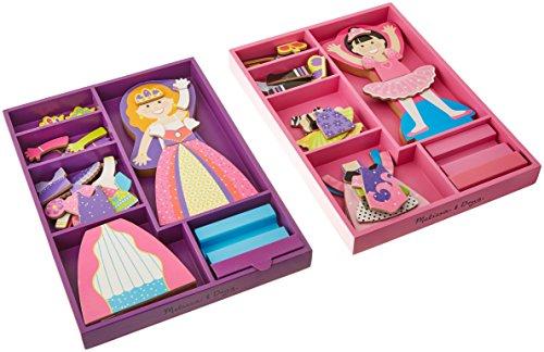 Melissa & Doug Wooden Magnetic Dress-Up Doll Set - Princess Alyssa and Ballerina Leah Dolls Magnetic Ballerina Doll