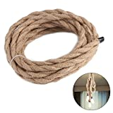 5M Electrical Wire,2 Core 3 Core Linen Covered Vintage Twisted Cable Copper Wire Retro Cord for DIY Industrial Light Pendant Lamp (3 cores)