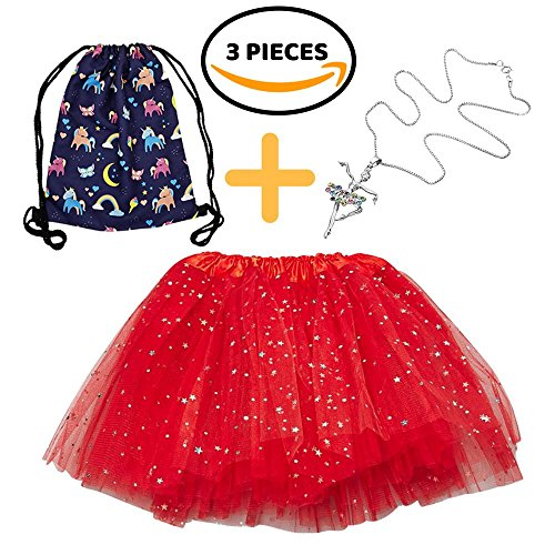 Girls Play Set - Tutu, Ballerina Necklace, Drawstring Bag - Sparkly Dance Skirt for Princess & Dancer Playtime, Plus Silver Ballet Pendant Jewelry & Childrens' Drawstring Backpack (Red) (Ballerina Purple Jewelry Box)