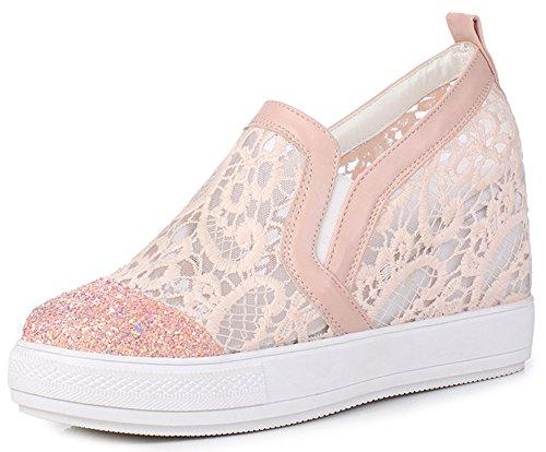 IDIFU Women's Trendy Glitter High Wedged Heels Inside Round Toe Pull On Sneakers (Pink, 4 B(M) US) by IDIFU