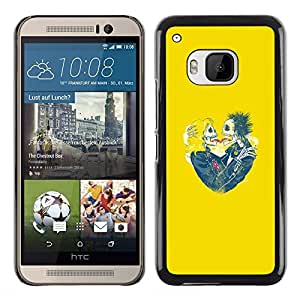 iBinBang / Funda Carcasa Cover Skin Case - Yellow Hearts Couple Skull Skeleton - HTC One M9
