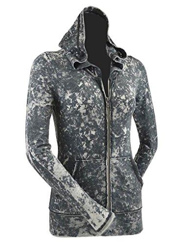 Kavio! Junior Retro Wash BurnOut Jersey Long Sleeve Zip Hoodie Black L (Womens Retro Zip Hoody)
