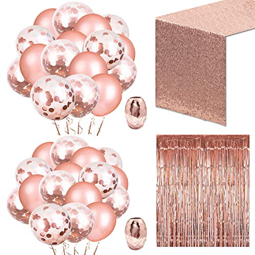Whaline 52 Pack Rose Gold Party Set, Include 48 Pcs Rose Gold Confetti Balloons with 2 Rolls Foil Ribbon and Foil Curtain, 12 by 108 Inches Sequin Table Runner for Party Birthday Wedding