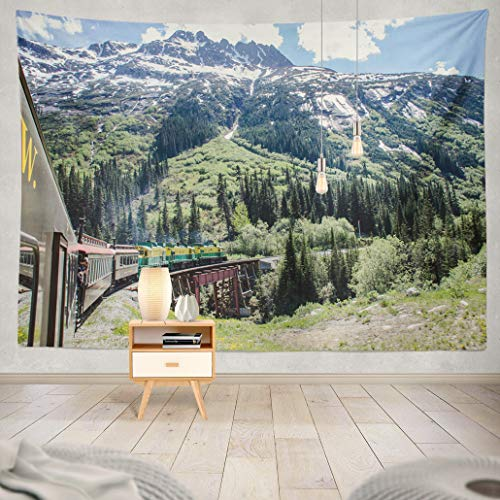 Summor Tapestry White Route Railroad Alaska Tourist Mountain Art Nature Home Decorations for Living Room Bedroom Dorm Decor 80 x 60 Inch