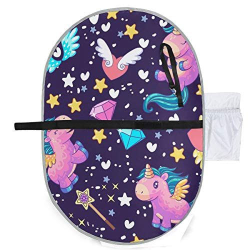 - Waterproof Washable Baby Diaper Changing Pad Mat Cute Unicorns Diamonds Hearts Portable and Foldable Infant Large Nappy Mat 27x20 inch
