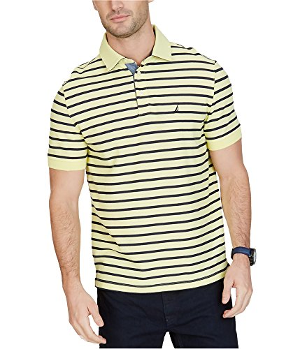(Nautica Mens Striped Rugby Polo Shirt, Yellow, X-Large)
