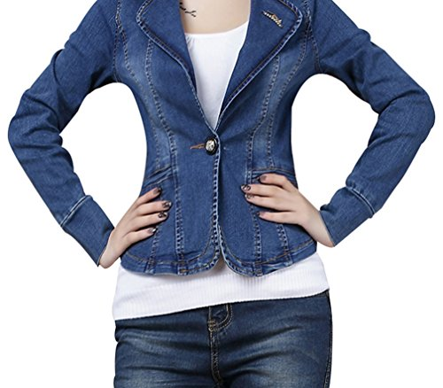 Yasong Women Ladies Girls Slim Fitted Long Sleeve Denim Light Wash ...